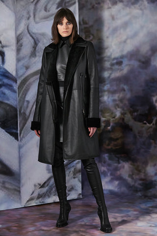 Reversible Belted Shearling Coat