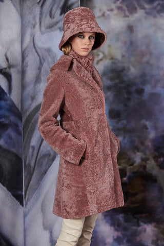 Pre-Order Dusty Rose  Leather-Trimmed Shearling Coat