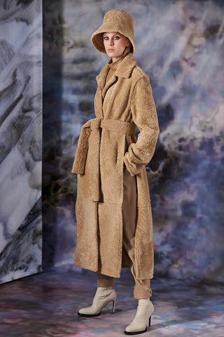 Sand Reversible Shearling Jacket With Front Pockets