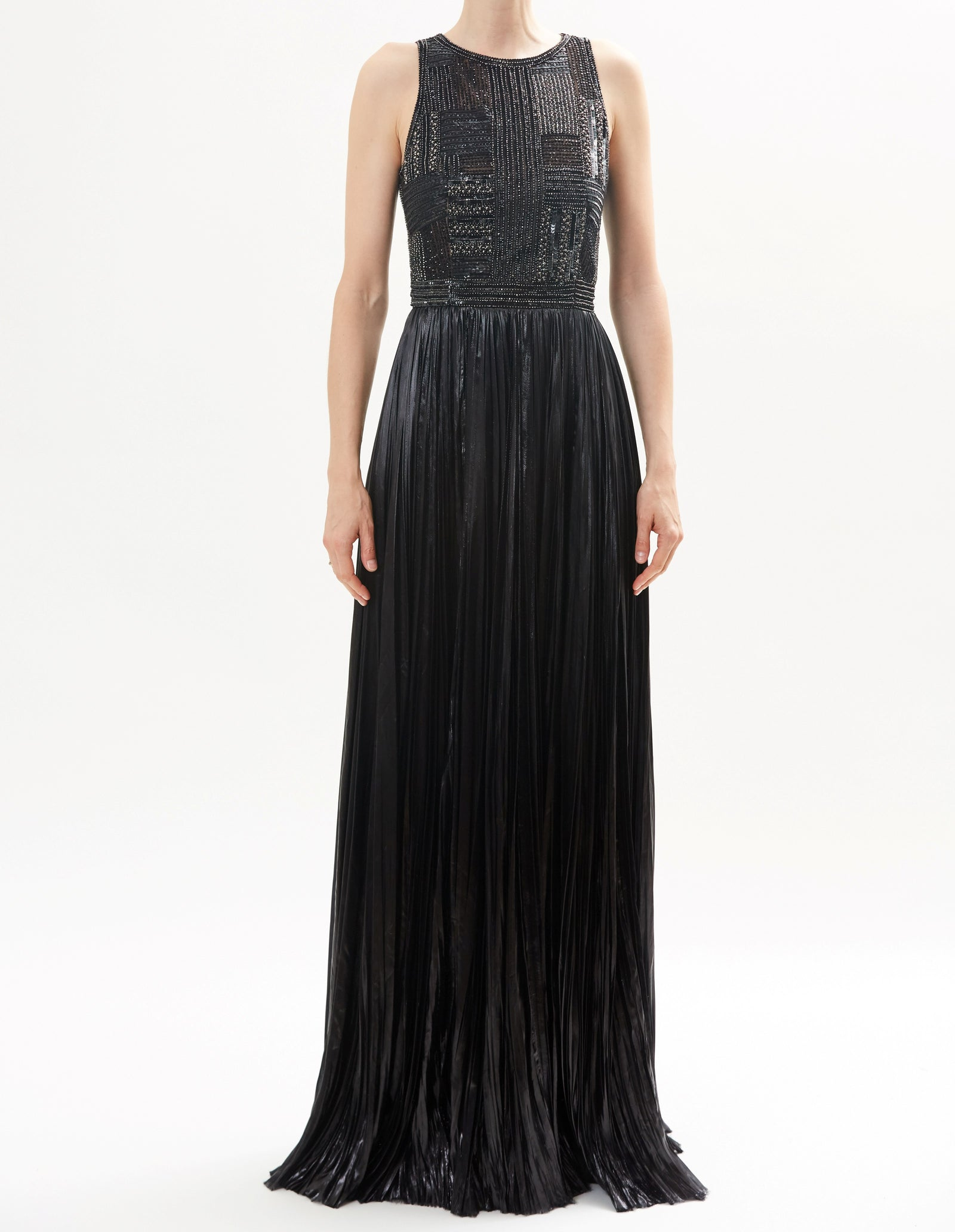 Black Embroidered Bustier Halter Neck Gown With Hand-Pleated Lurex Skirt