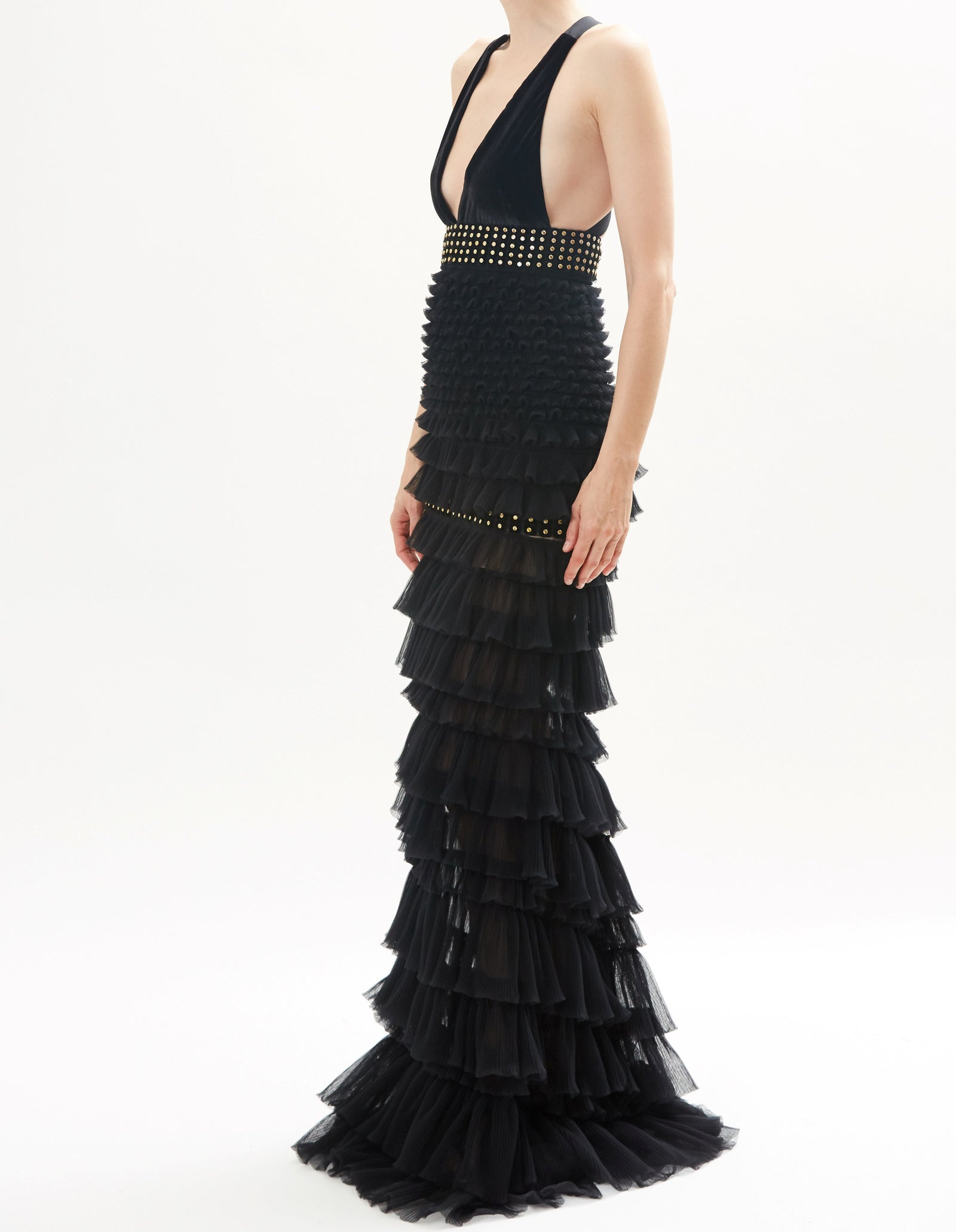 Black Tiered Tulle Gown With Criss Cross Back And Embroidered Detail