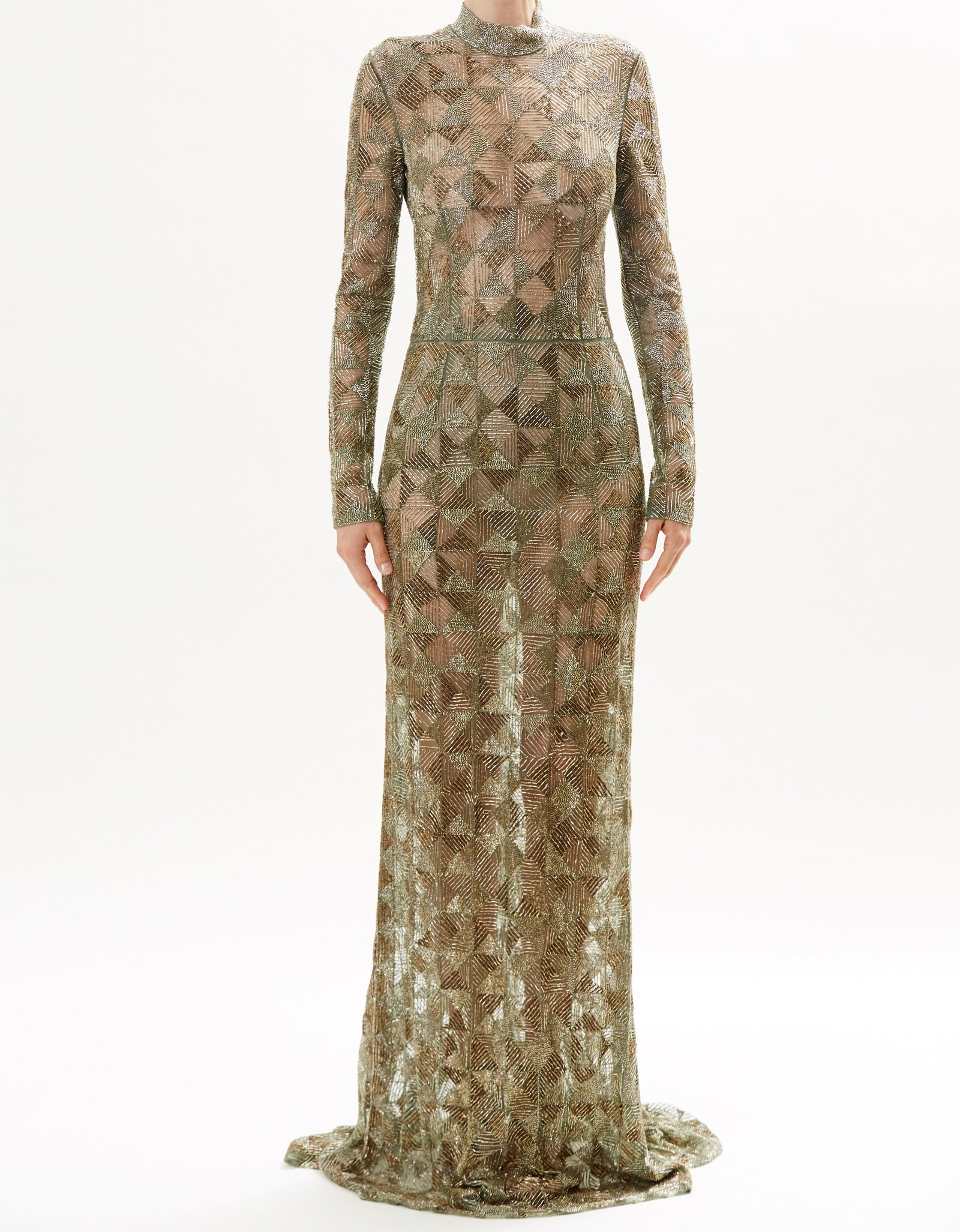 Moss Fully Embroidered Long Sleeve High Neck Gown