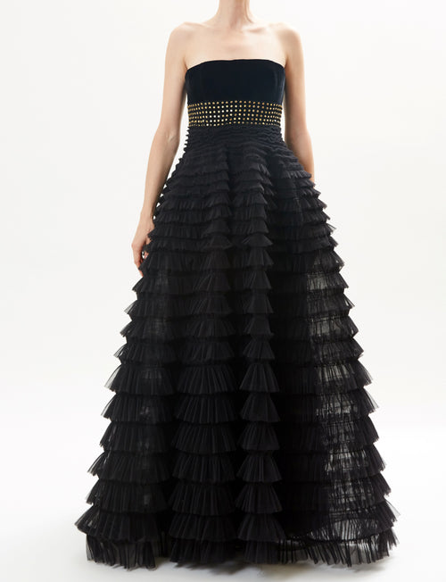 cea948ea90 Black Strapless Tiered Tulle Full Skirt Gown With Embroidered Detail