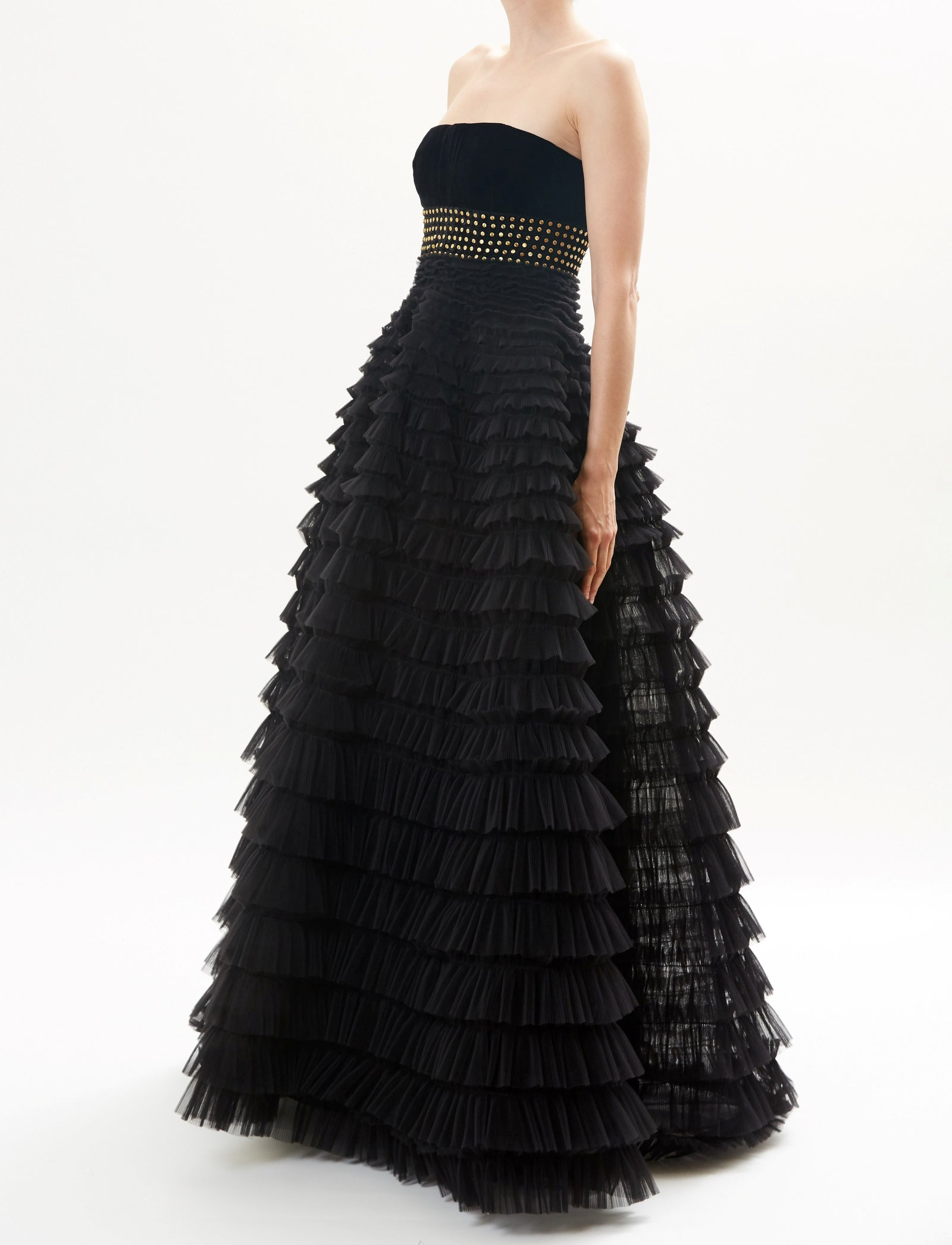 Black Strapless Tiered Tulle Full Skirt Gown With Embroidered Detail