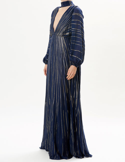 Midnight Long Sleeve Striped Gown