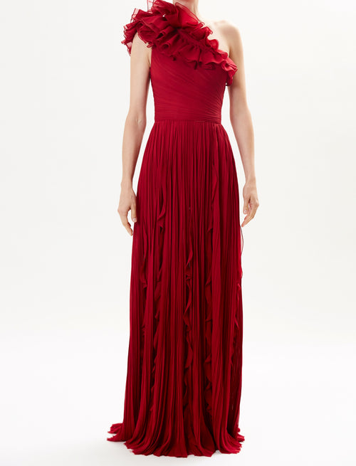 Pre-Order Garnet Pleated One Shoulder Gown With Ruffle Detail