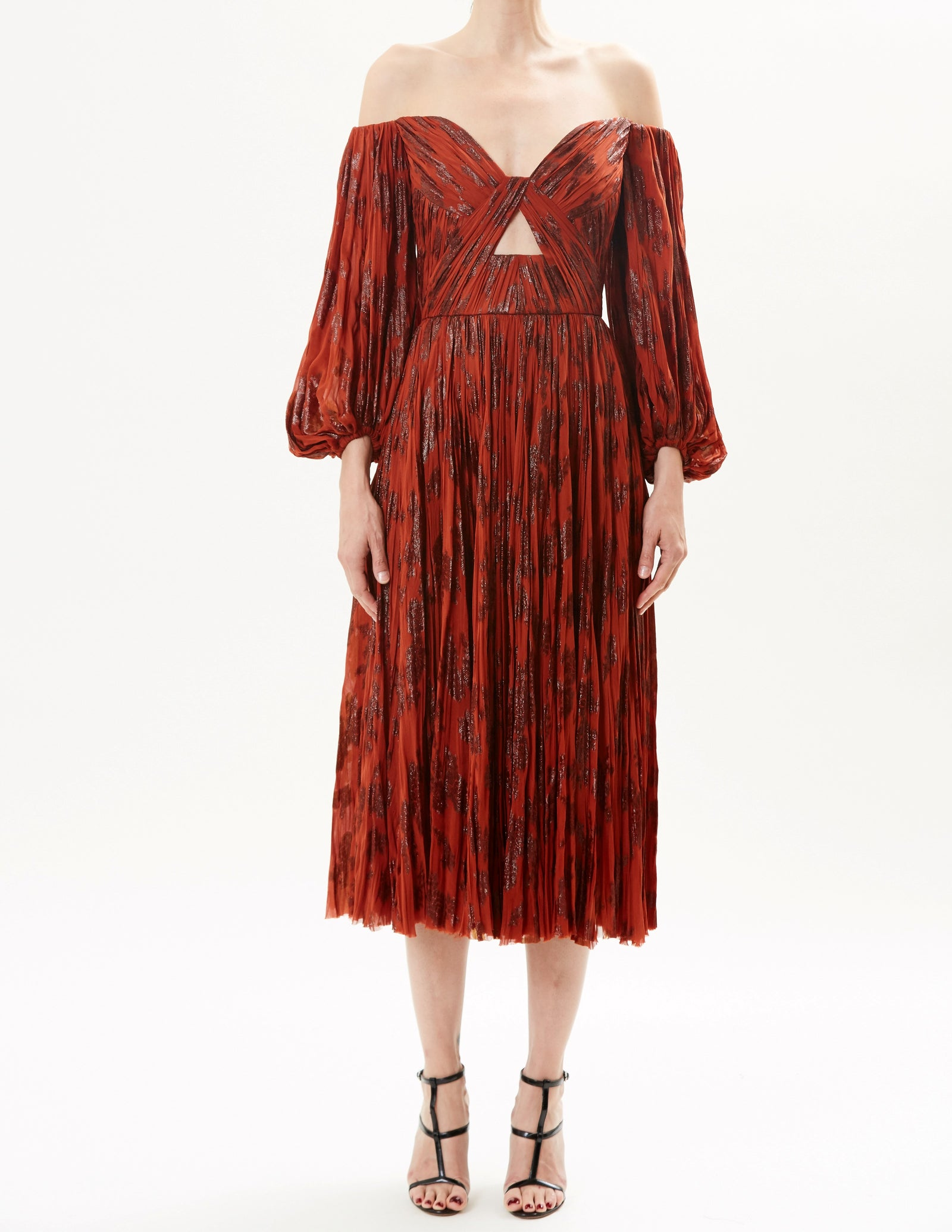 Sienna Off-The-Shoulder Hand Pleated Lurex Mouselline Cocktail Dress