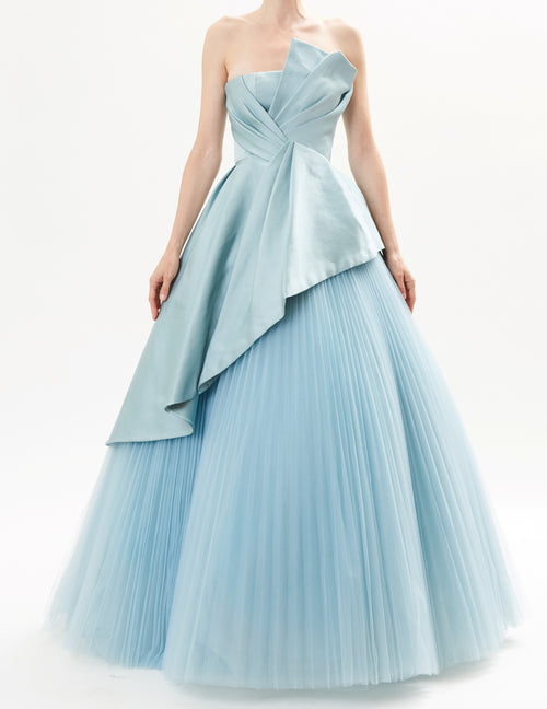 Mist Pointed Satin Bustier Top With Pleated Tulle Skirt