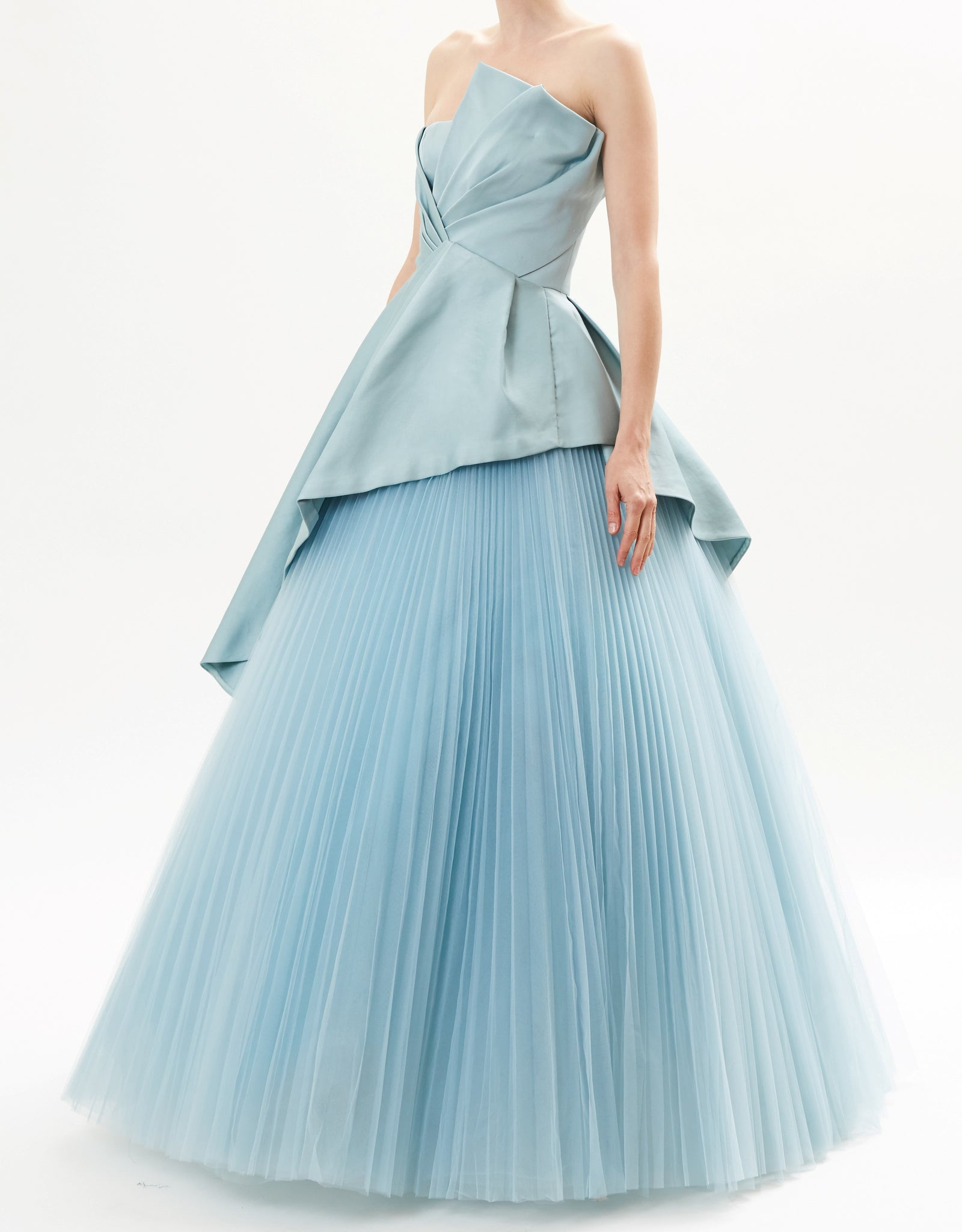 Pre-Order Mist Pointed Satin Bustier Top With Pleated Tulle Skirt