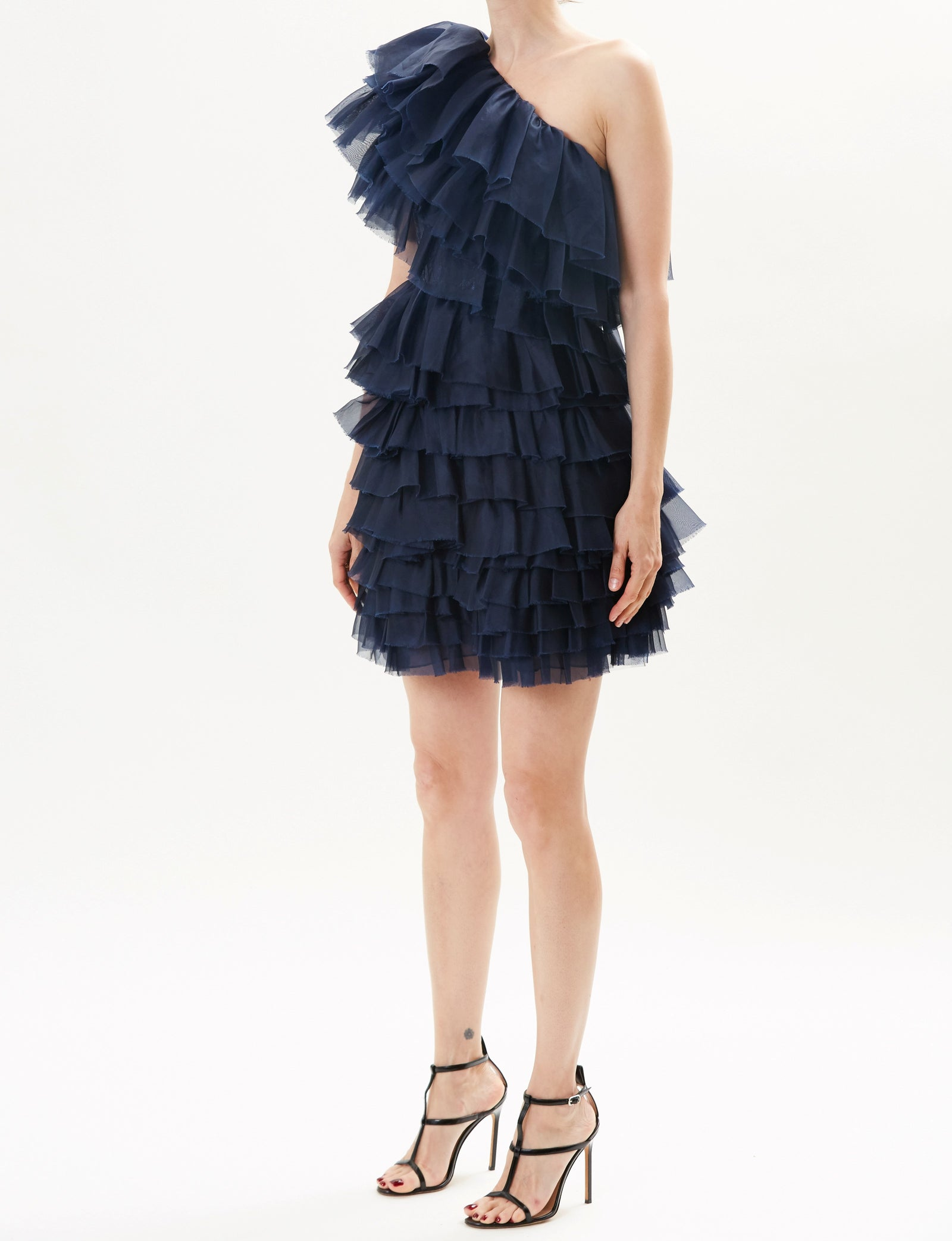 Pre-Order Midnight One Shoulder Ruffle Mini Cocktail Dress