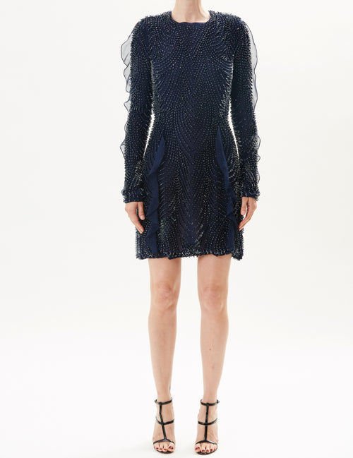 Pre-Order Midnight Long Sleeve Embroidered Dress With Open Back
