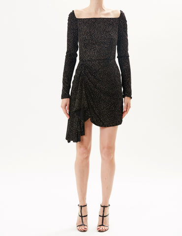 Black Velvet Off-The-Shoulder Mini Dress With Beaded Detail
