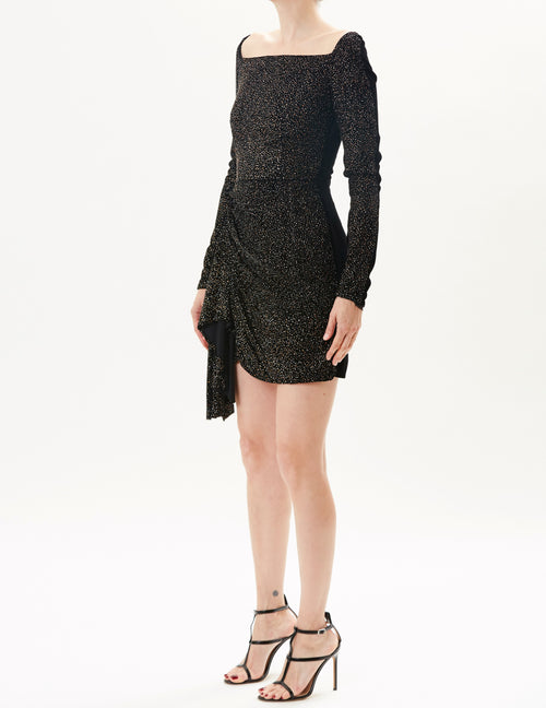 Black Square Neck Mini Dress With Embroidered  Front And Velvet Back