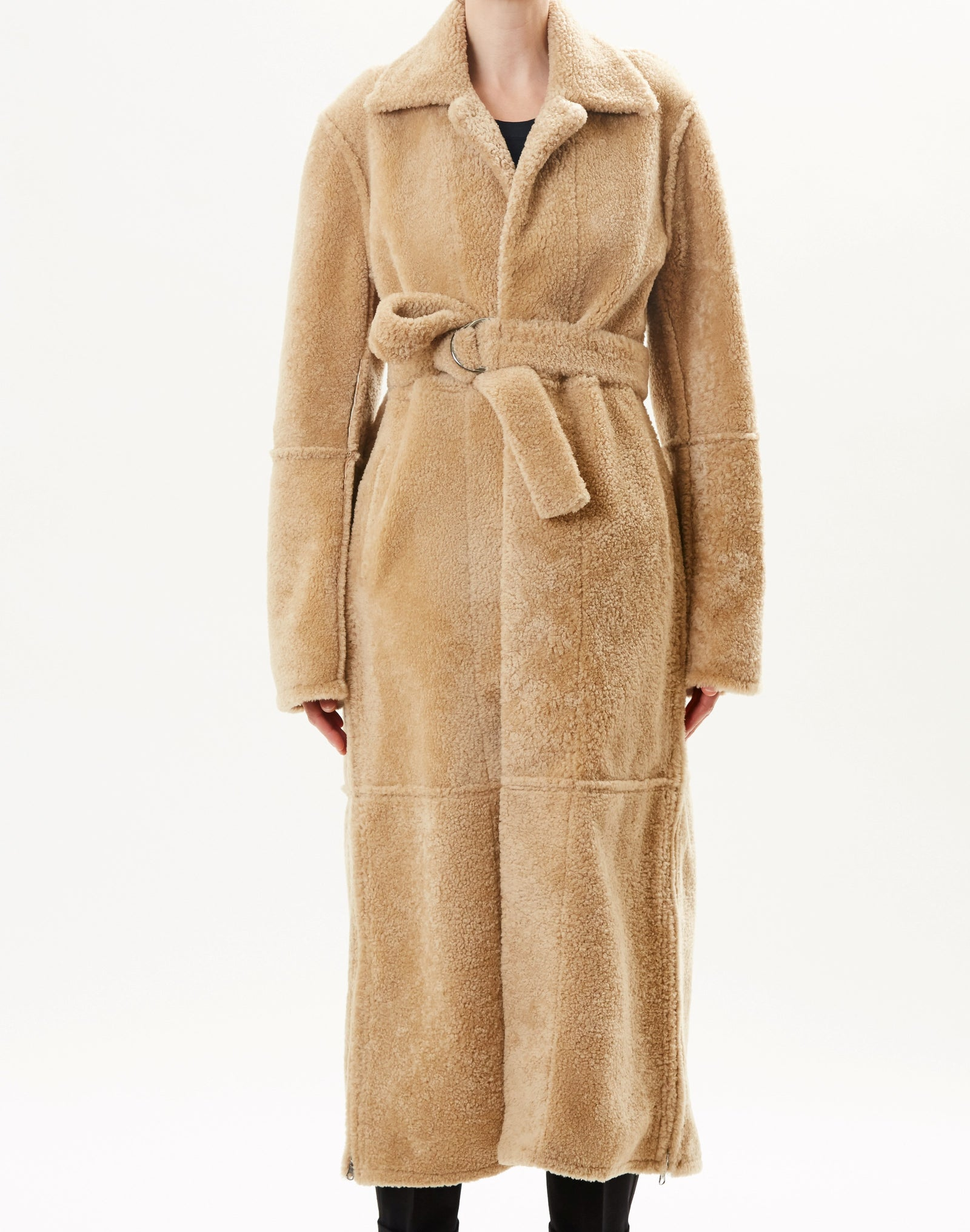 Pre-Order Reversible Belted Shearling Coat