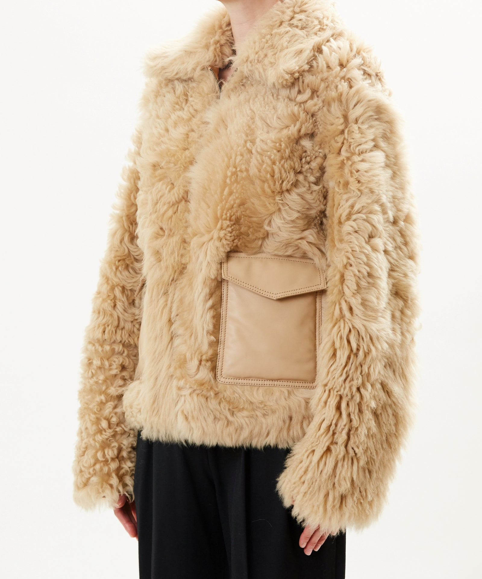 Pre-Order Sand Reversible Shearling Jacket With Front Pockets