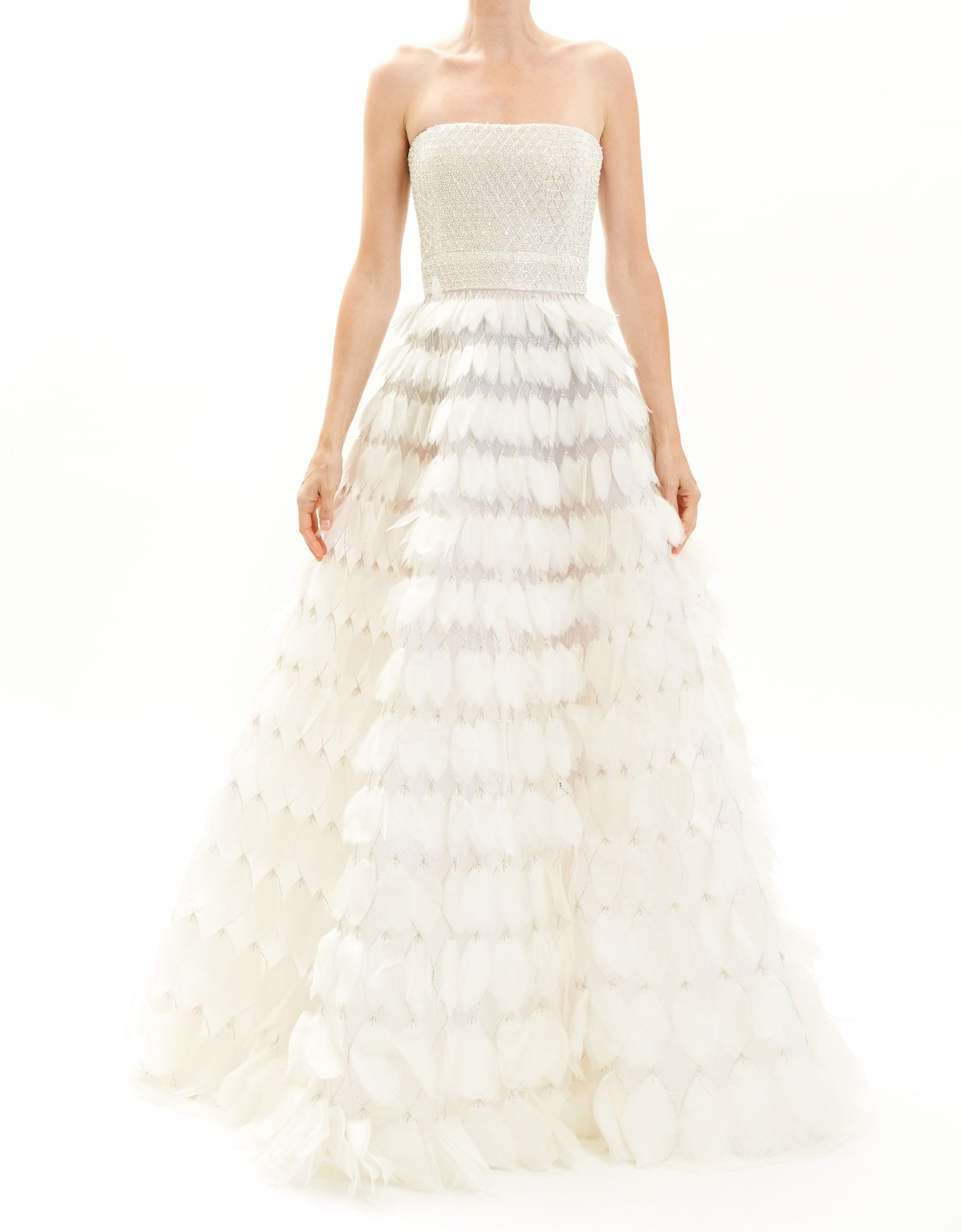White Feathered Silk Gown