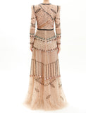 Metallic Embroidered Tulle Gown