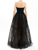 Black Embroidered Organza Gown and Bolero