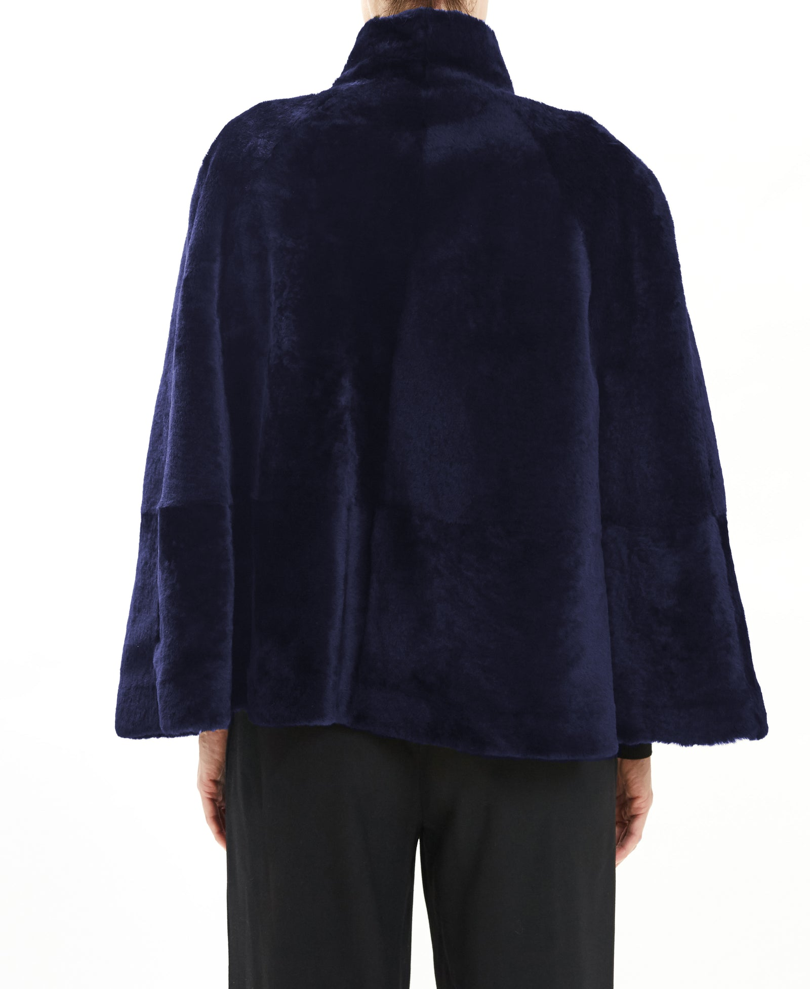 Navy Shearling Cape