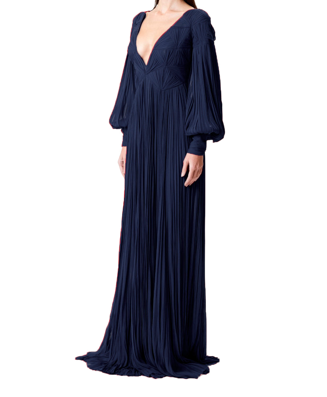 Navy Silk Hand-Pleated Gown