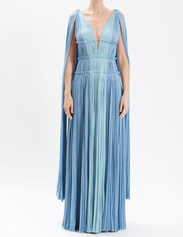 Currant Two Tone Silk Hand-Pleated Cape Gown