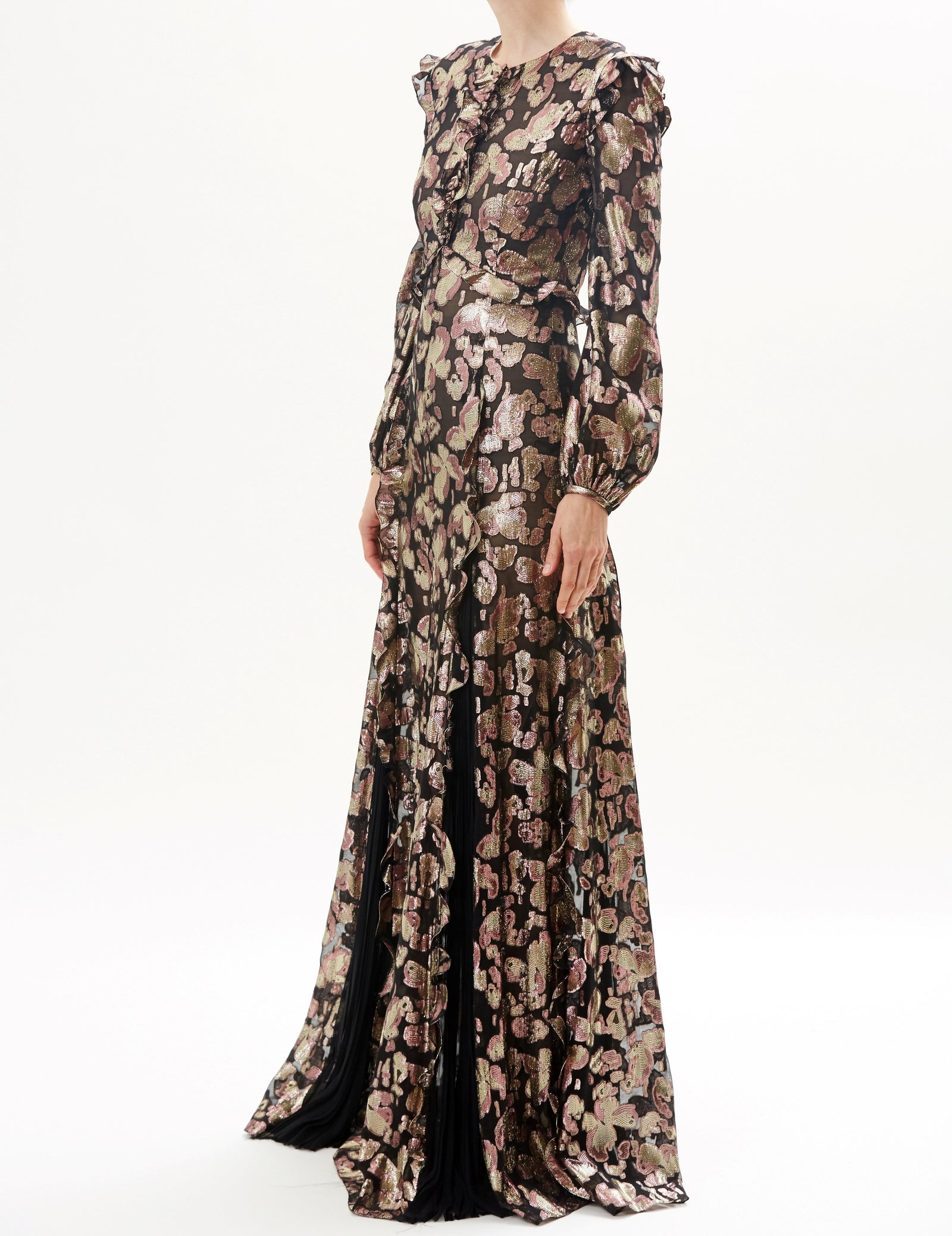 Black Rose Long Sleeve Lame Gown With Button Detail
