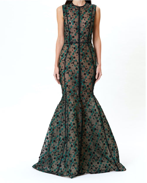 Juniper Floral Embroidered Mermaid Gown