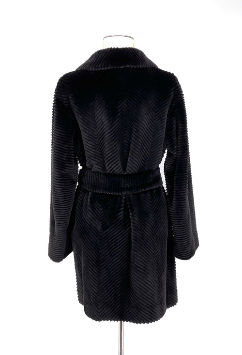 Black Grooved Sheared Mink Coat