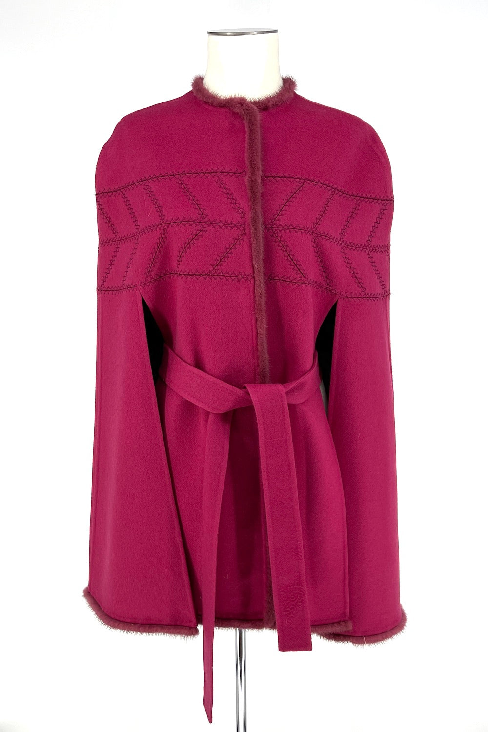 Orchid Mink Double Face Stitched Cape with Fur Trim