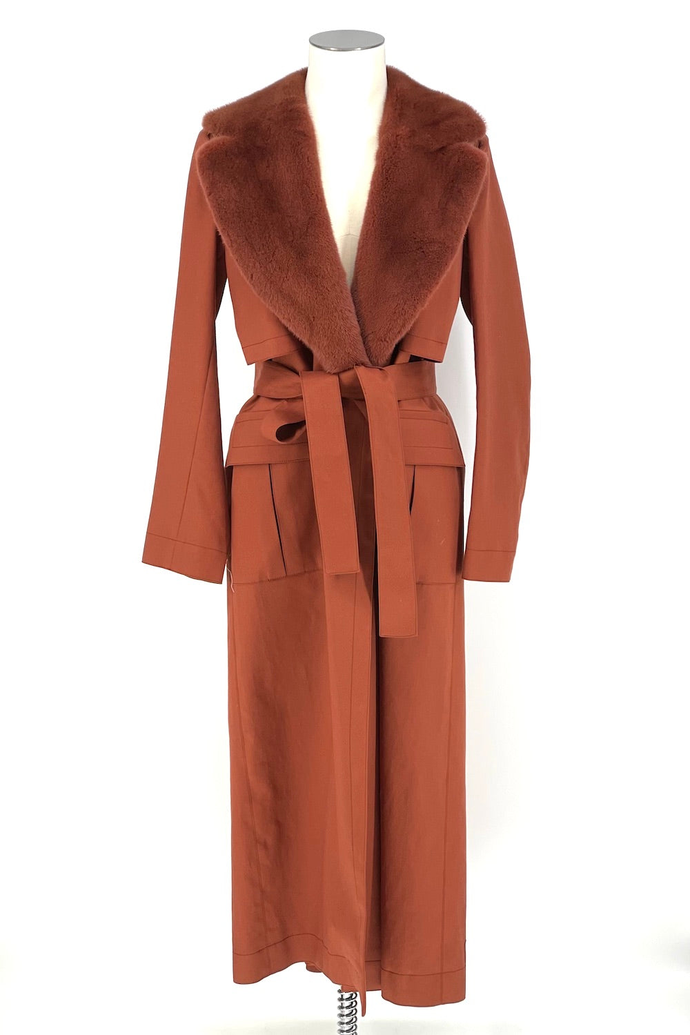 Sienna Mink Trench Coat with Fur Collar