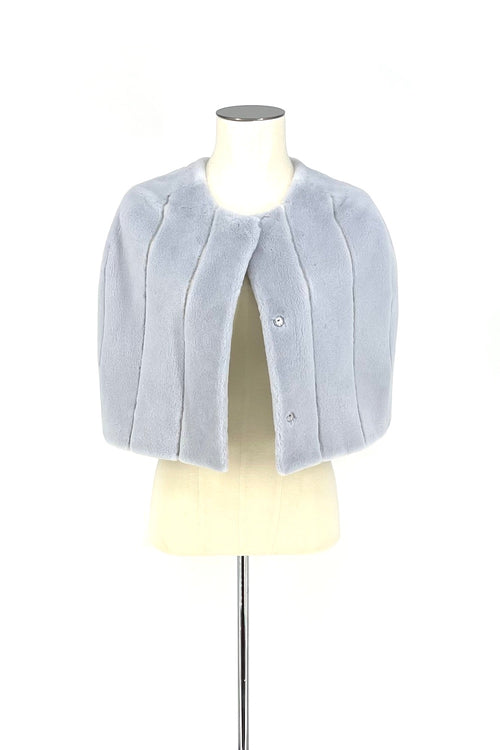 Light Blue Sheared Mink Cape