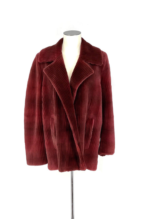 Garnet Corduroy Sheared Mink Coat with Leather Belt