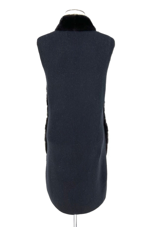 Black Mink Long Vest with Knit Cashmere