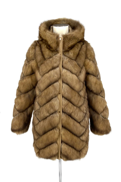 Golden Sable Reversible Puffer Coat
