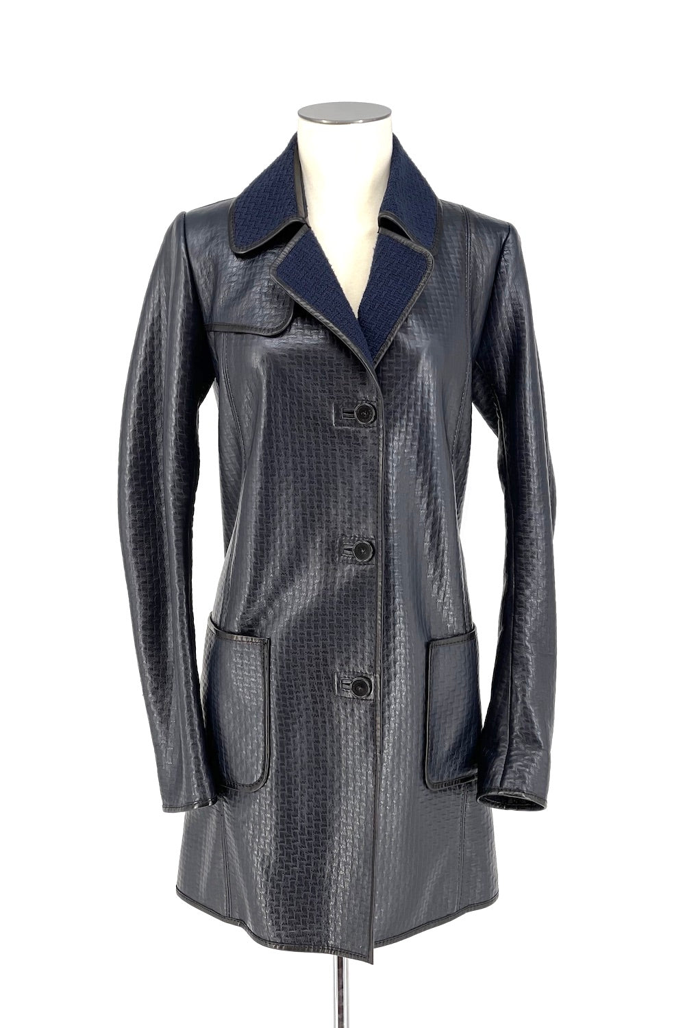 Blue Leather and Wool Trench Coat