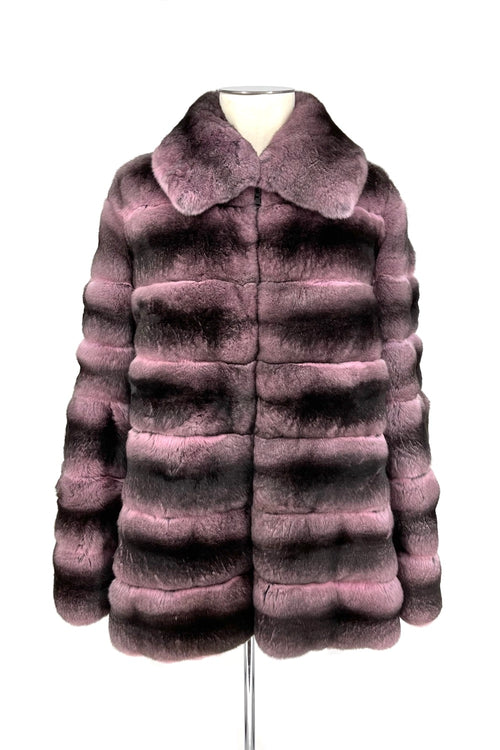 Rose Chinchilla Reversible Puffer Coat