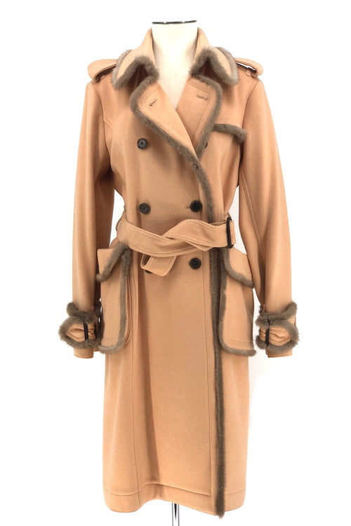 Peach and Beige Double Faced Cashmere Trench Coat with Mink Fur Trim