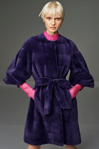 Currant Embroidered Cashmere Coat with Sage Mongolian Lamb Fur Collar and Cuff
