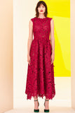 Pre-Order Fuschia Sleeveless Guipure Lace Midi Dress