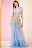 Pre-Order Mayan Blue Embroidered Long Sleeve Tulle Gown