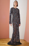 Midnight Tulle Long Sleeve Fully Embroidered Gown