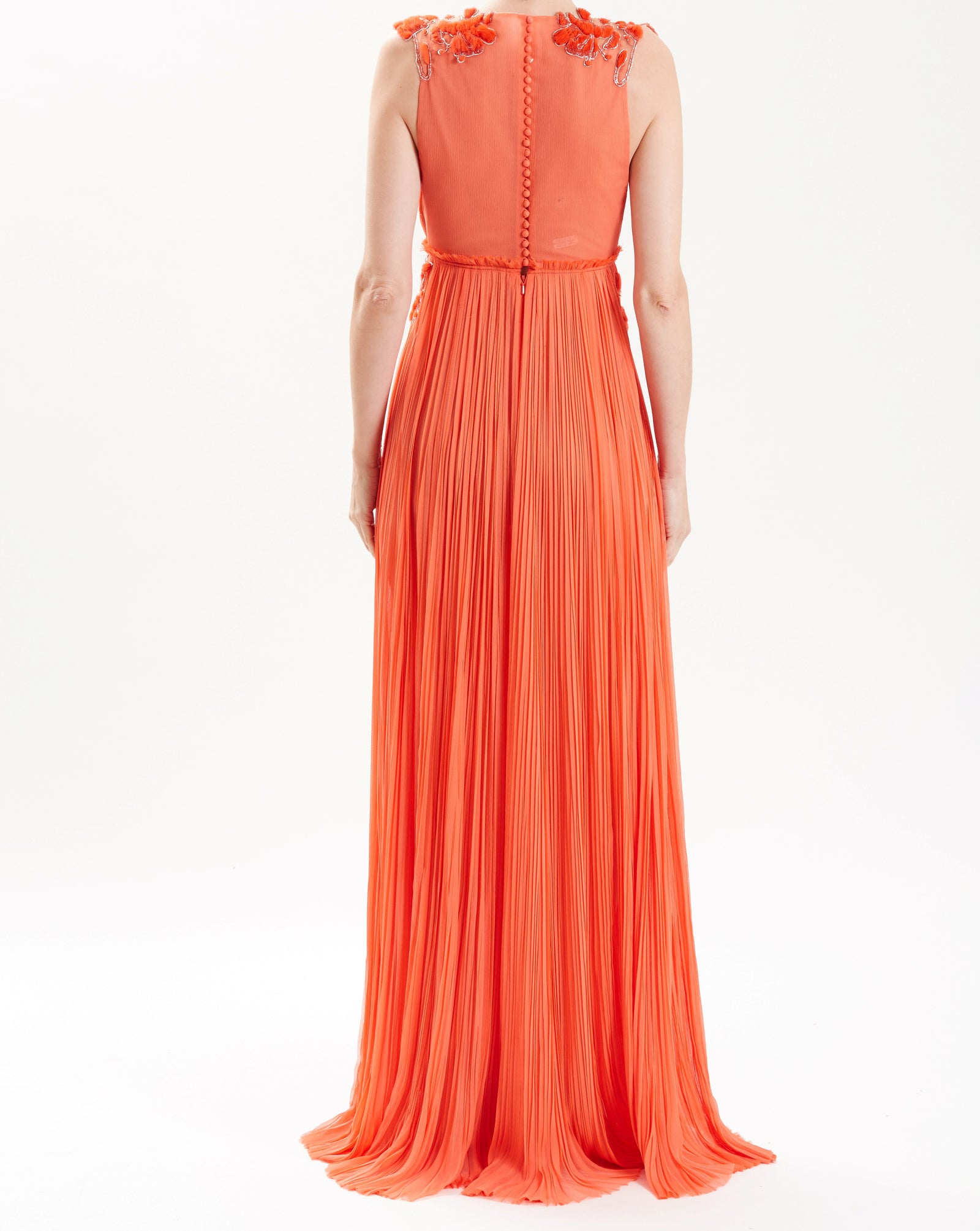 Coral Silk Chiffon Hand-Pleated Gown With Embroidery