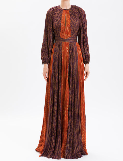 Burgundy & Orange Rust Contrast Stripe Pleated Gown
