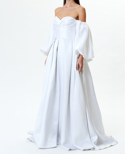 Pearl Off-The-Shoulder Gown With Back Bow