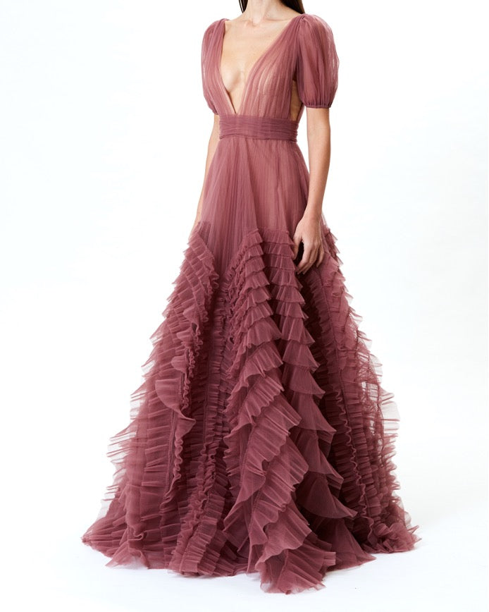 Rose Tulle Deep-V Gown With Ruffle Detail