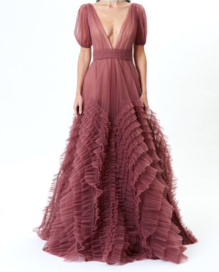 Pre-Order Rose Tulle Deep-V Gown With Ruffle Detail
