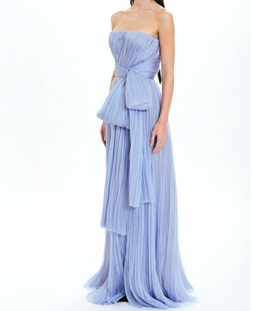 Periwinkle Strapless Pleated Gown with Bow