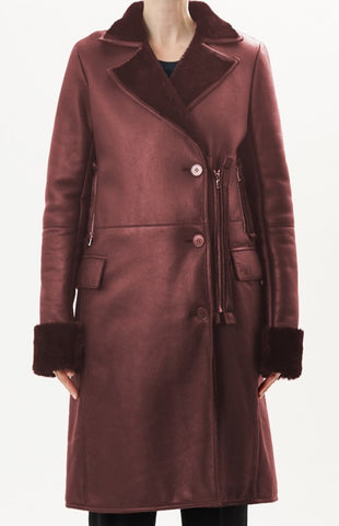 Black  Collared Leather Shearling Coat