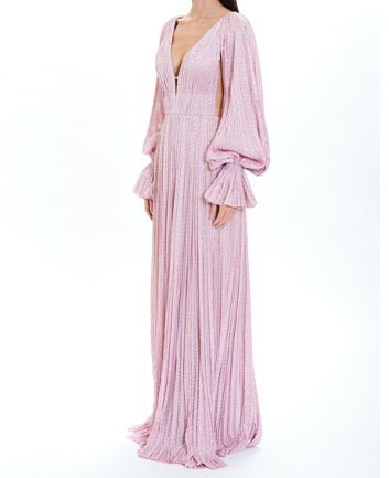 Peony Hand-Pleated Deep V-Neck Gown