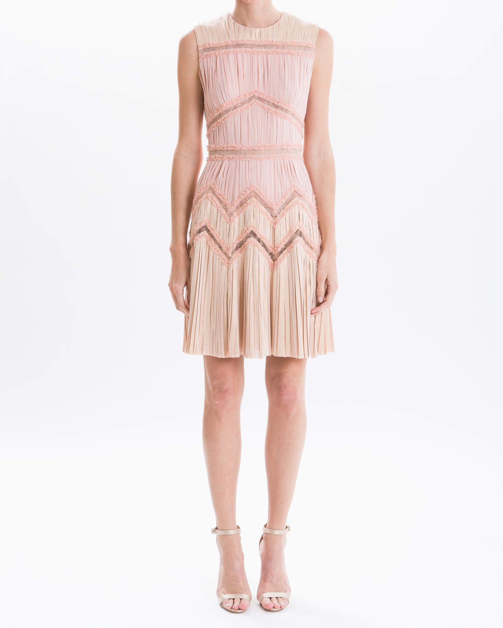 Blush/Gold Lurex Hand-Pleated Cocktail Dress – J. Mendel